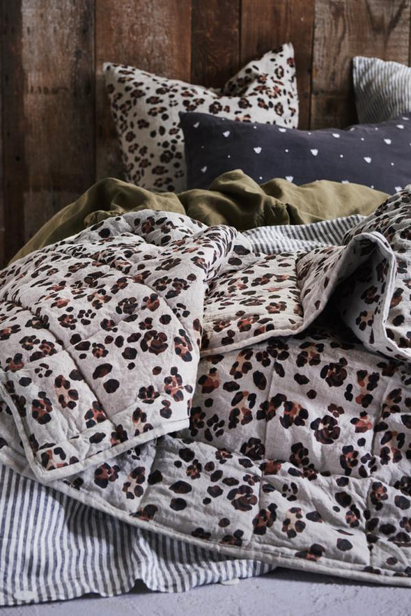 Society of Wanderers Leopard Double Sided Quilt - Standard-Duvet cover-Antipodream