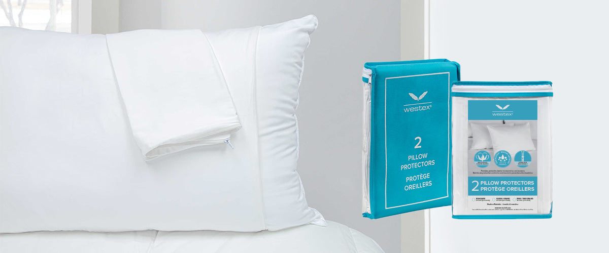 Westex 2-pack of cotton quilted pillow protectors and mattress pads are stain-resistant and machine washable