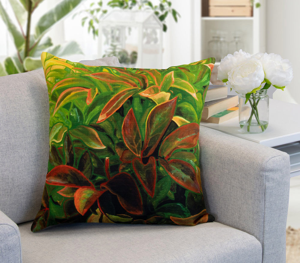 nature looking decorative cushion on the armchair