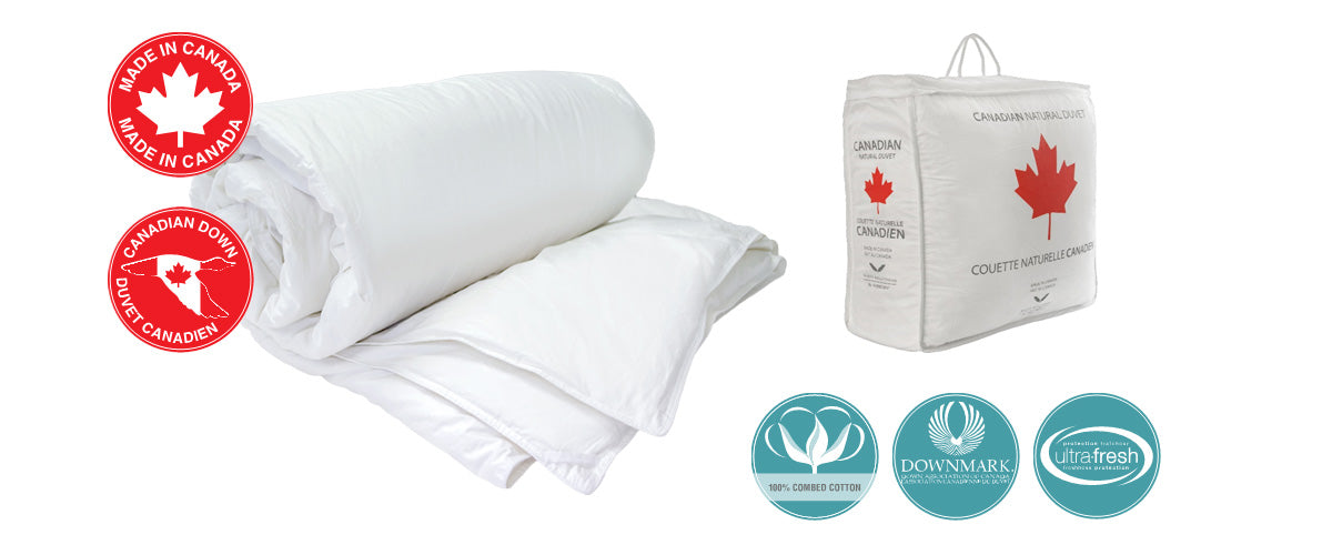 Canadian Hutterite White Goose Down Duvet Rolled with cotton bag packaging next to it