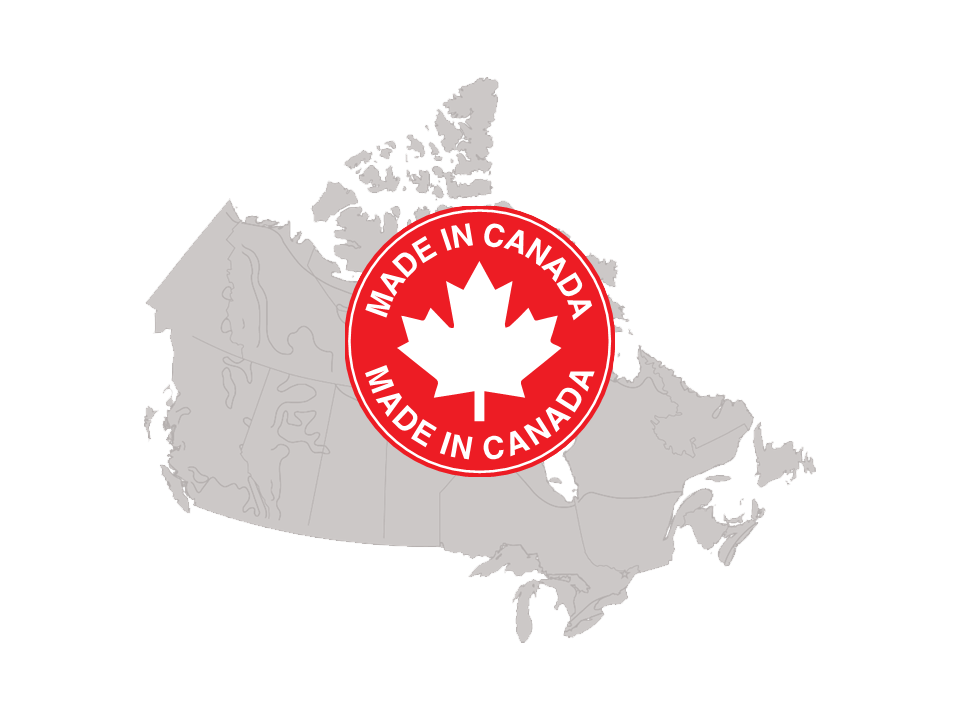 Map of Canada with made in Canada symbol