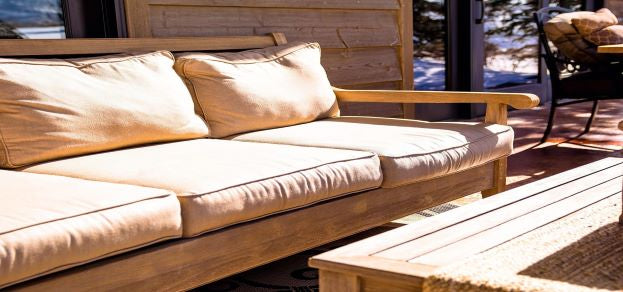 Sun shining on outdoor furniture