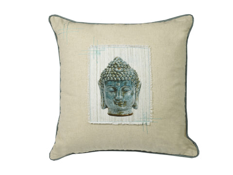 "Feather-Filled ""Buddha Applique"" Cushion"