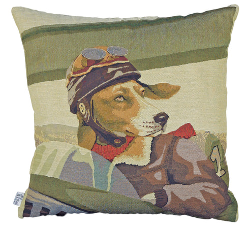 "Feather-Filled ""Dog Pilot"" Cushion"