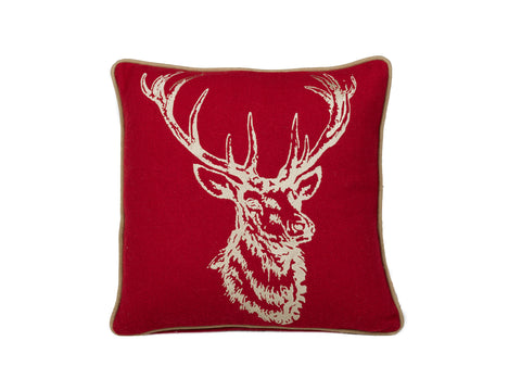 "Stag Gold/Red 18x18""-Polyester Filled"