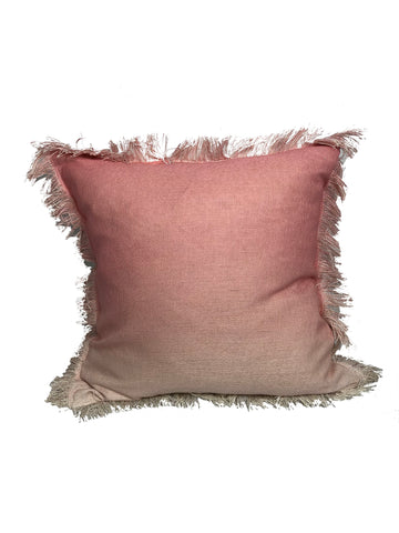 "Ombre Fringe Blush 20x20""-Feather Filled"