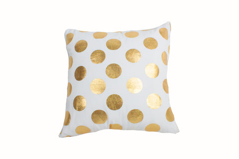 "Foil Dots Large White/Gold 18x18""- Poly Filled"