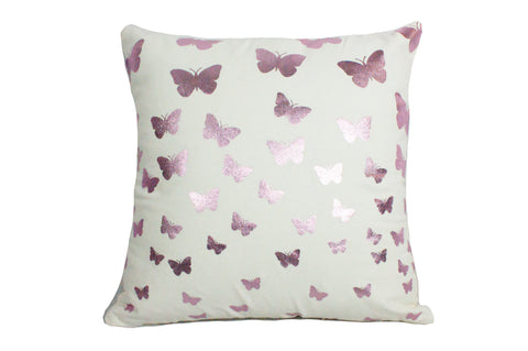 "Foil Butterflies Pink White 18x18""-Polyester Filled"