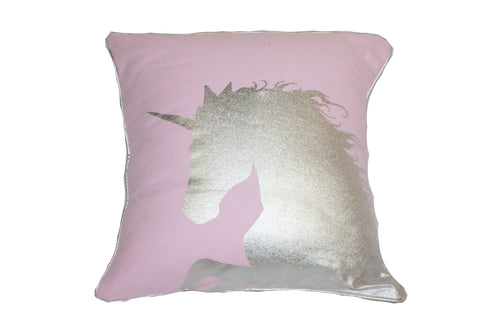 "Foil Unicorn Silver Pink 18x18""-Polyester Filled"