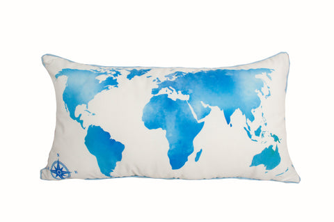 "Map World Blue 14x26""- Poly Filled"