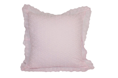 "Eyelit Lace, Pink, 18X18""- Poly Filled"