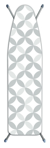 "Deluxe Extra-Thick Ironing Board Cover 15x54"" - Geo Circle Tonal Grey"
