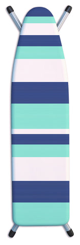 "Deluxe Extra-Thick Ironing Board Cover 15x54"" - Stripes Tonal Blue"