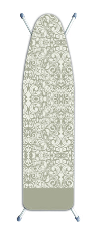 "Deluxe Extra-Thick Ironing Board Cover 15x54"" - Damask Beige"