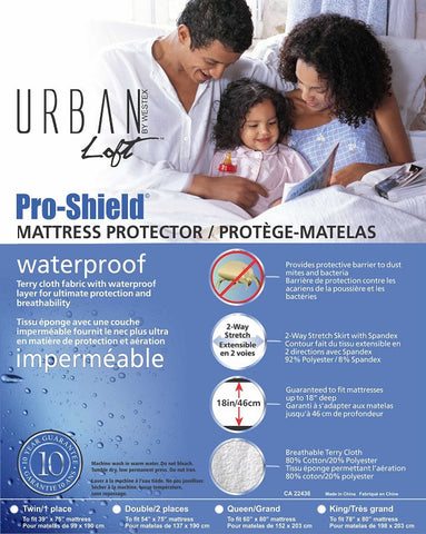 Pro-Shield© Waterproof Mattress Protector with Breathable T.P.U. Backing
