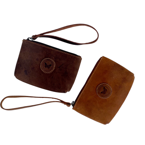 Le Papillon - Leather Pouch with Wrist Band