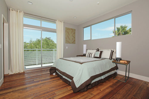 LA bedroom reclaimed fir wood flooring