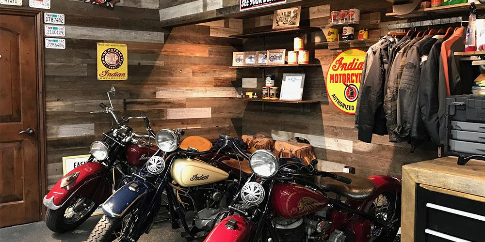 Reclaimed wood panels in garage