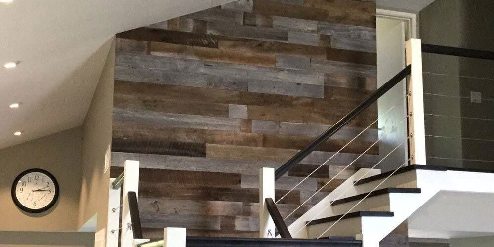 reclaimed wood panels over stairs