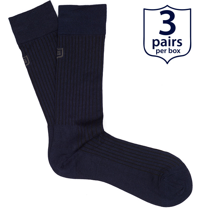 The Duke<br/> 90% Mercerized Cotton Luxury Socks<br/> Navy Blue<br/> 3-pack