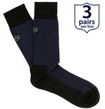 The Millionaire<br/> 90% Modal Luxury Dress Socks<br/> Black and Blue<br/> 3-pack