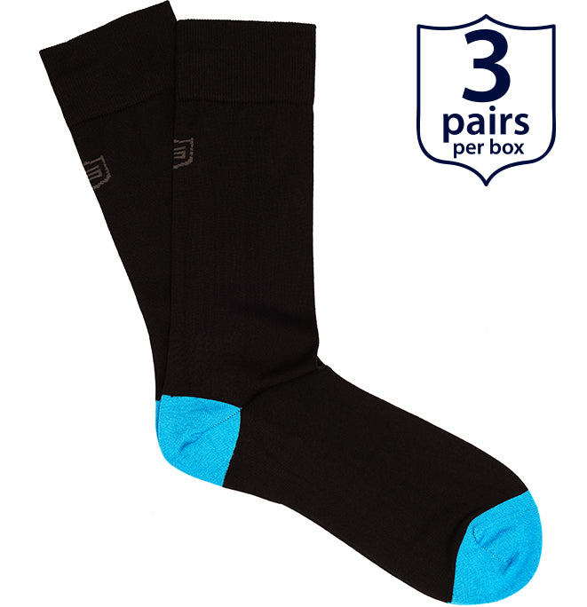 The Player<br/> 100% Mercerized Cotton Socks<br/> Blue<br/> 3-pack