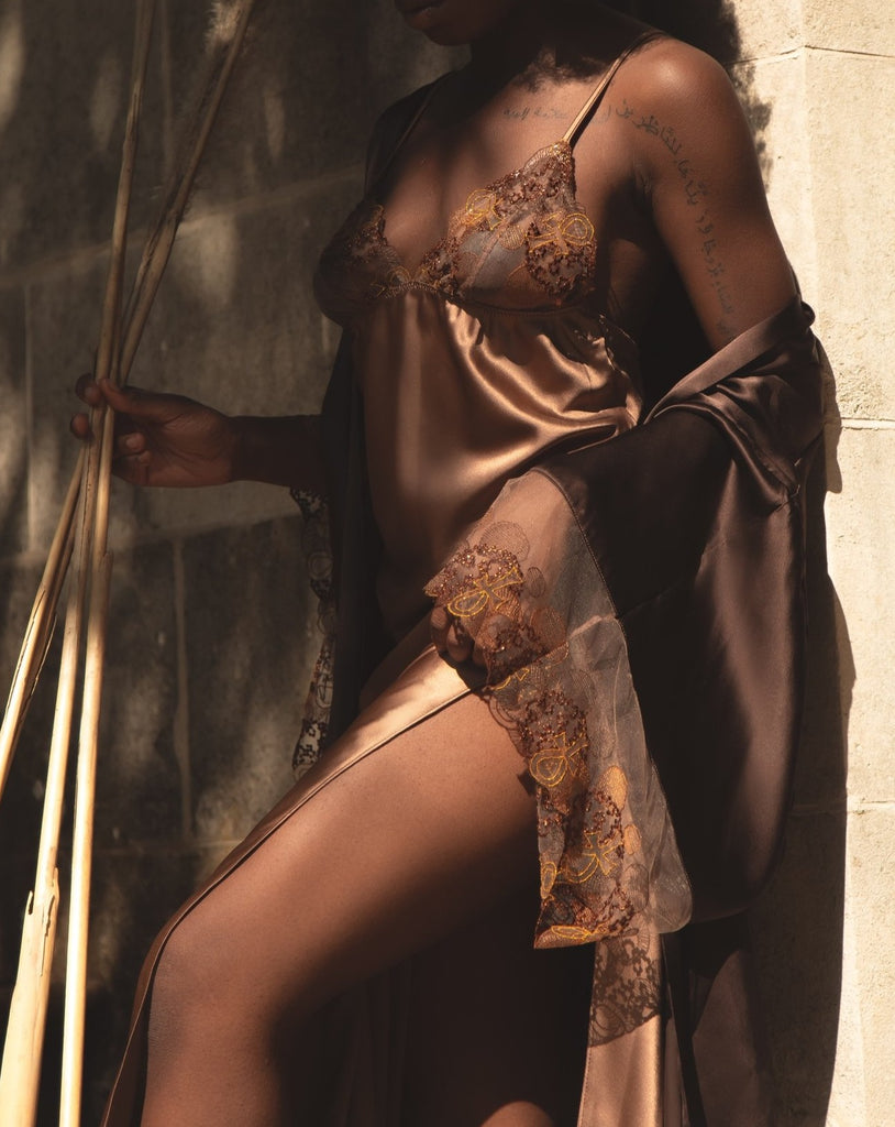 Ma'at Bronze Silk & Embroidered Slip