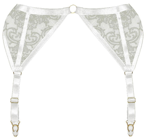 ANNABEL SUSPENDER IVORY & Harness Bra  - PRODUCT  Front - beautifullyundressed.com
