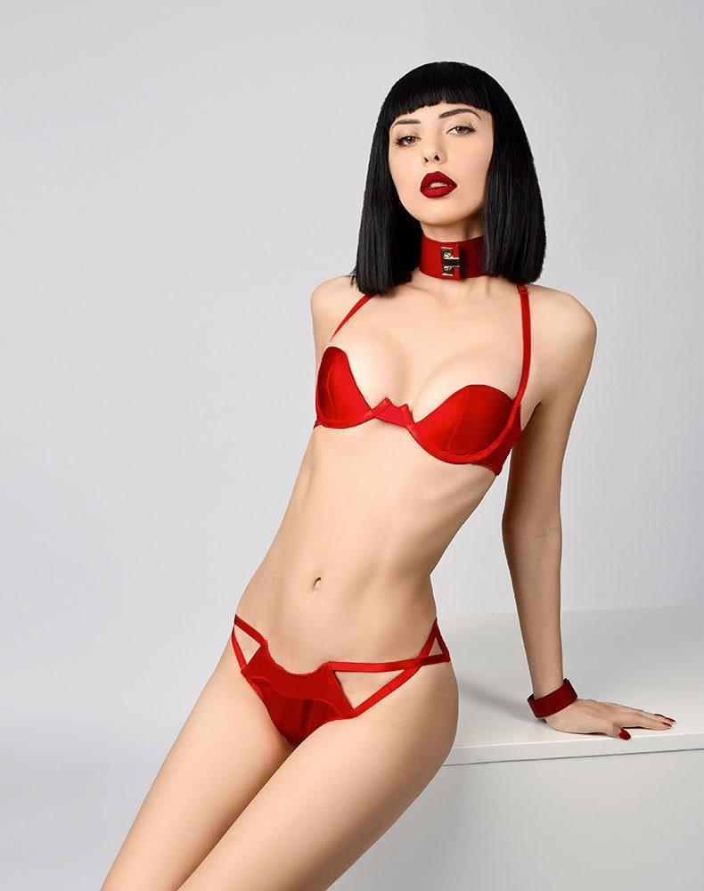 Elf Zhou, Ascot Halter Demi Bra - model shot 2 - beautifullyundressed.com