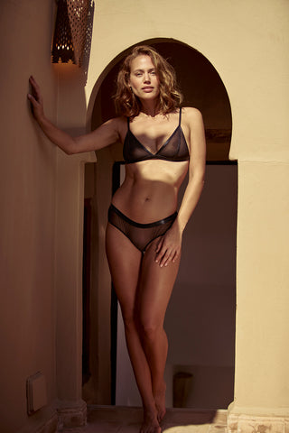 Dhalia Triangle Bra with Mesh by Inamorata London - Model shot 2 - beautifullyundressed.com