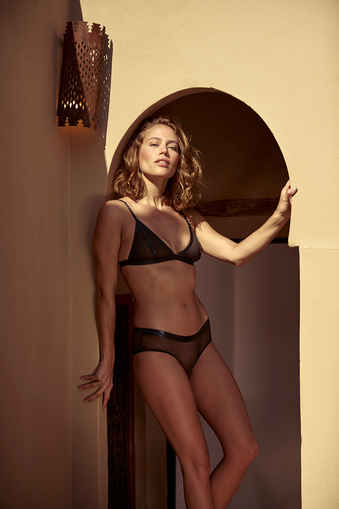 Dhalia Triangle Bra with Mesh by Inamorata London - Model shot 1 - beautifullyundressed.com