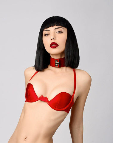 Elf Zhou, Ascot Halter Demi Bra - model shot 1 - beautifullyundressed.com