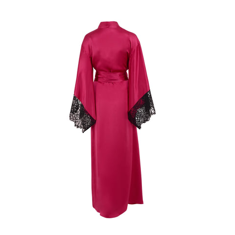 Emma Harris Renée Raspberry Long Robe - Product - Back - Beautifully Undressed