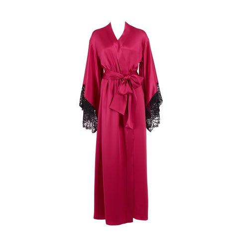 Emma Harris Renée Raspberry Long Robe - Product - Front - Beautifully Undressed