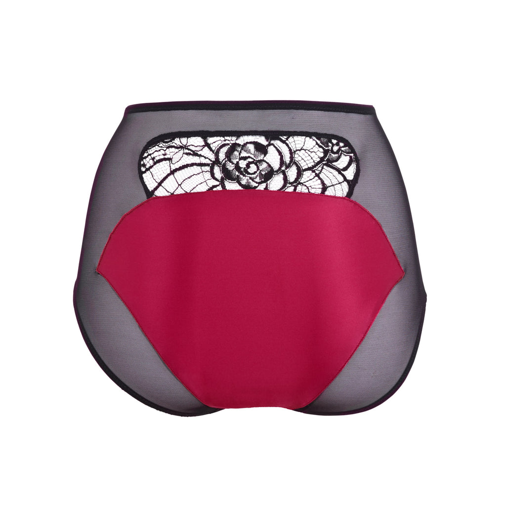 Emma Harris Renée Raspberry High Waisted Brief - Product Shot Back - Beautifully Undressed