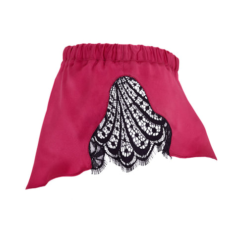 Emma Harris Renée Raspberry Flared Shorts - Product Shot - side - Beautifully Undressed