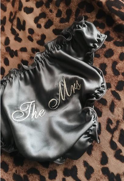 'THE MRS' BRIDAL KNICKERS (BLACK SILK)