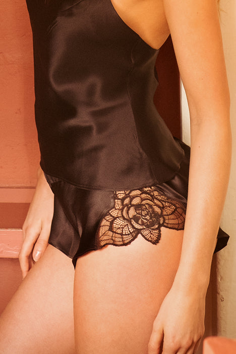 Tiffany Black Flared Shorts - Model shot - Side - Beautifully Undressed