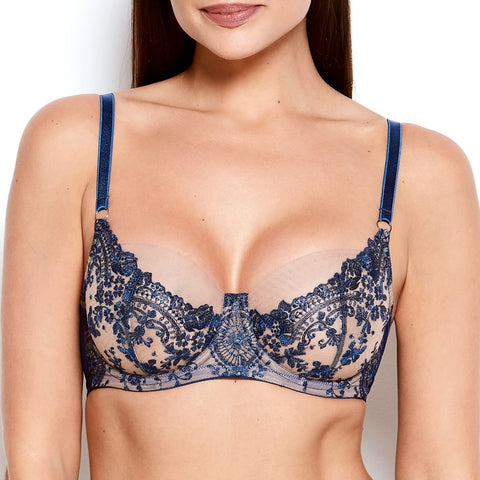 Katherine Hamilton Abrielle Blue Embroidered Bra - model shot - front - beautifully undressed