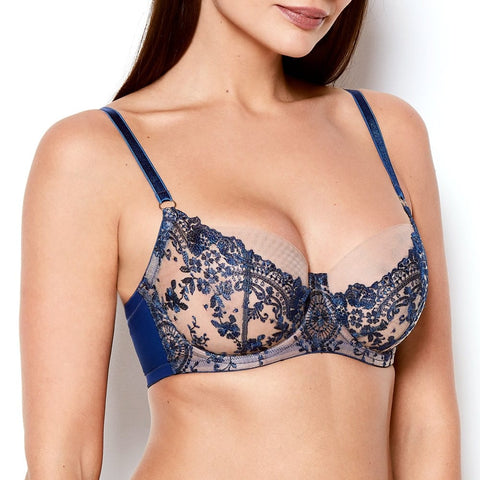 Katherine Hamilton Abrielle Blue Embroidered Bra - model shot side - beautifully undressed