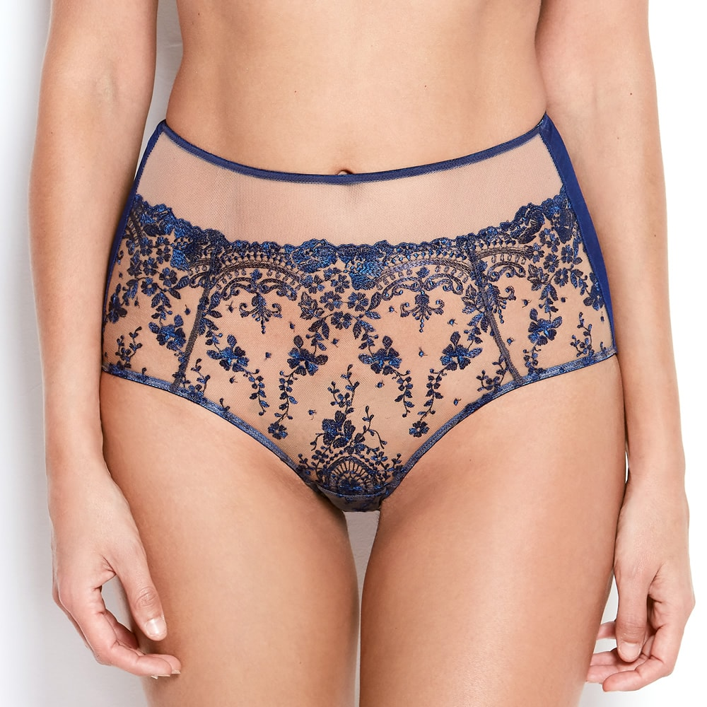 Katherine Hamilton Abrielle Blue Embroidered High wasit knicker - model front - beautifullyundressed.com