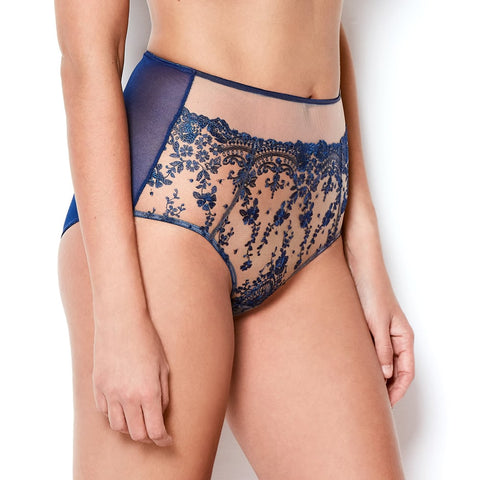 Katherine Hamilton Abrielle Blue Embroidered High wasit knicker - model side - beautifullyundressed.com
