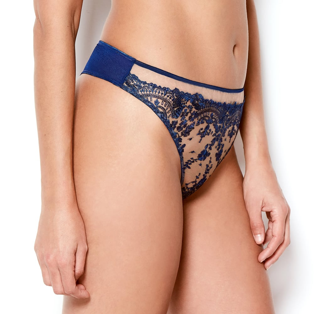 Katherine Hamilton Abrielle Blue Embroidered thong - model side - beautifullyundressed.com