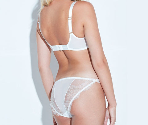 Something Wicked Arabella Mini brief and Balcony Bra - Ivory - Model back - beautifully undressed