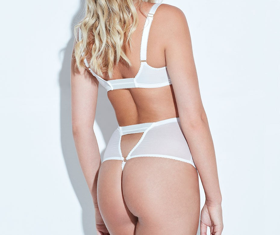 ARABELLA IVORY BRALET & HIGH WAIST BRIEF- Model BACK - beautifullyundressed.com