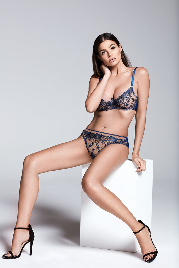 Katherine Hamilton Abrielle Blue Embroidered bra and knicker  - campaign - beautifullyundressed.com