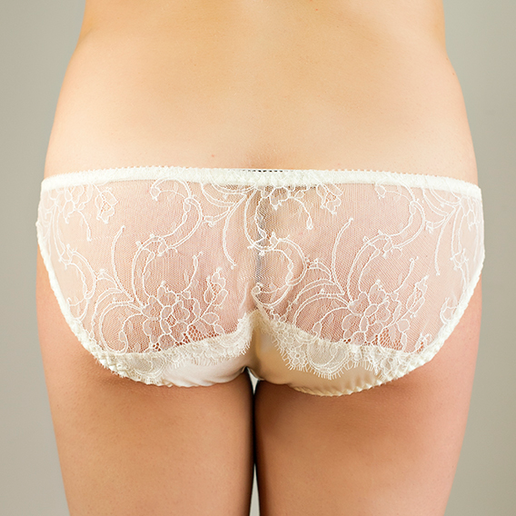Pompadour Couture Charlotte Silk Knicker - Ivory back detail