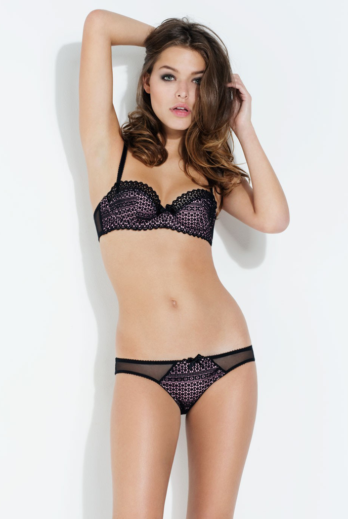 L'Agent by Agent Provocateur Carleta Padded Balcony Bra & Thong - model shot