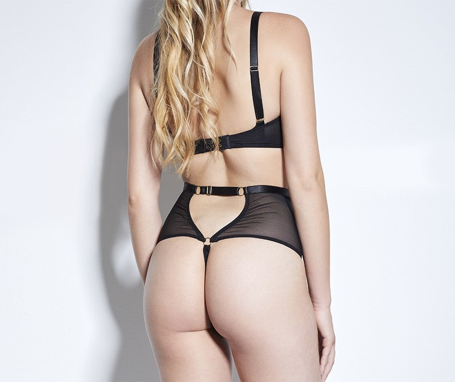 Something Wicked Jade soft bra & thong- Beautifully Undressed - model back shot