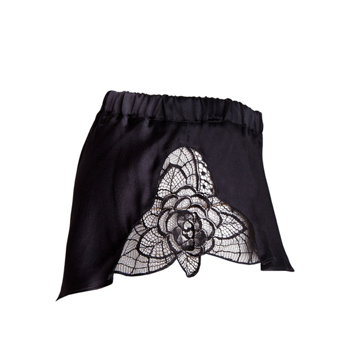 Emma HarrisTiffany Black Flared Shorts - Product shot - Side - Beautifully Undressed